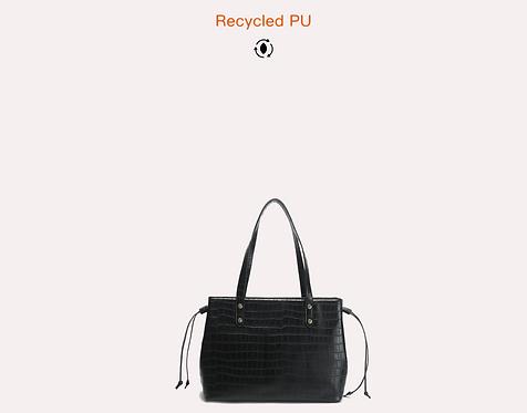 Black recycled croc vegan leather polyurethane handbag front view