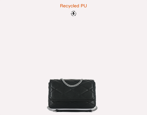 Black sustainable vegan recycled polyurethane crossbody bag front view