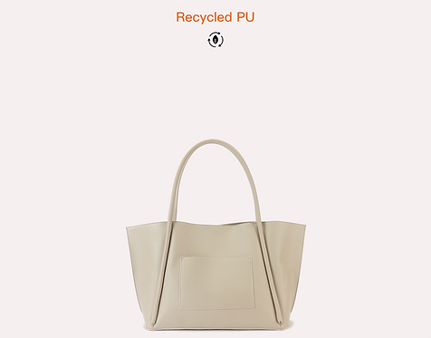 Recycled vegan leather polyurethane tote bag front view