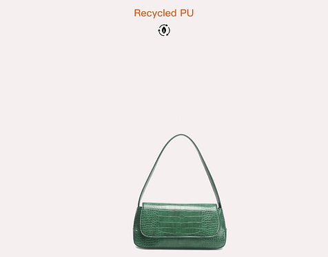 Green recycled croc vegan leather polyurethane baguette crossbody bag front view