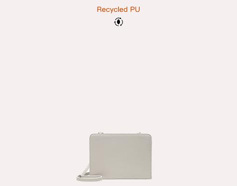 Black basic recycled vegan leather polyurethane crossbody bag front view