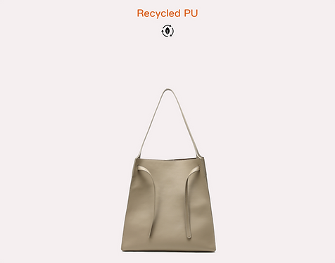 Green recycled vegan leather polyurethane tote bag front view