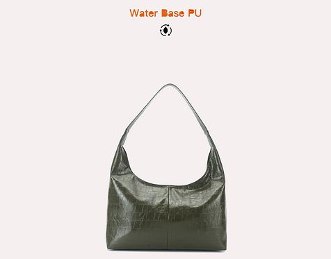 Green vegan water base croc polyurethane tote bag front view