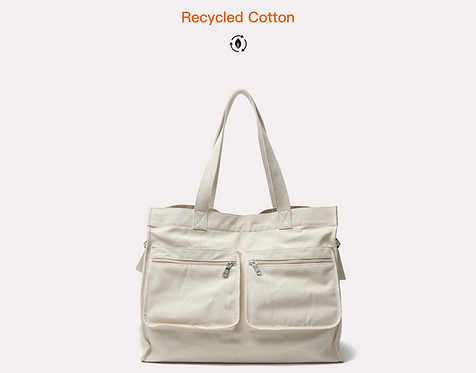 Recycled Cotton large handbag front view