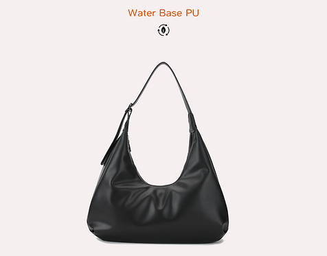 Black recycled water base vegan leather polyurethane bag front view