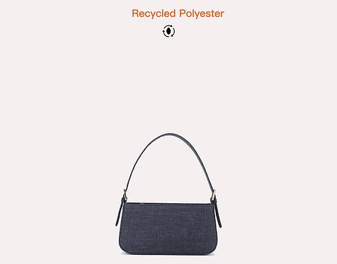 Denim vegan recycled polyester baguette bag front view