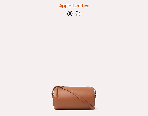 brown apple vegan leather crossbody bag front view