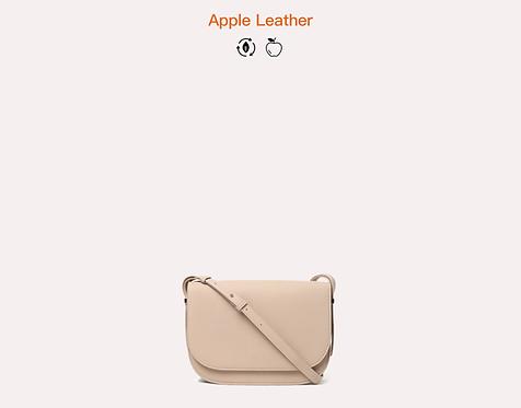 Beige apple vegan leather crossbody bag front view