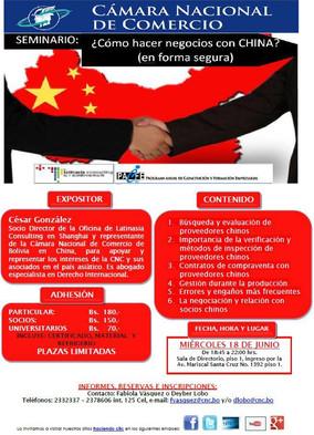 Seminario Negocios con China 18 de Junio a las 18:45 en el Salon de Actos de la CNC, La Paz