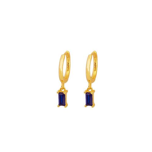 Blue zirconia rectangle hoop gold