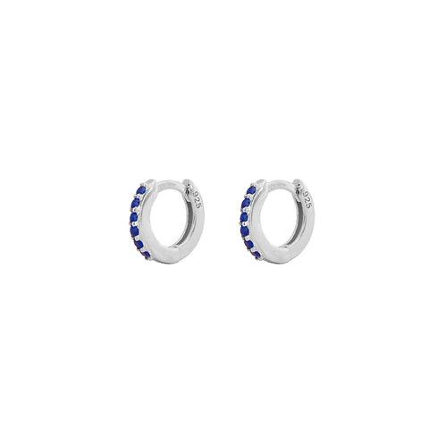 Blue zirconia mini hoop silver