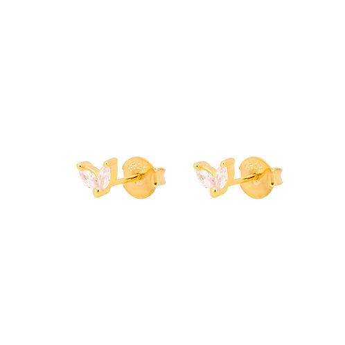 White zirconia petals gold