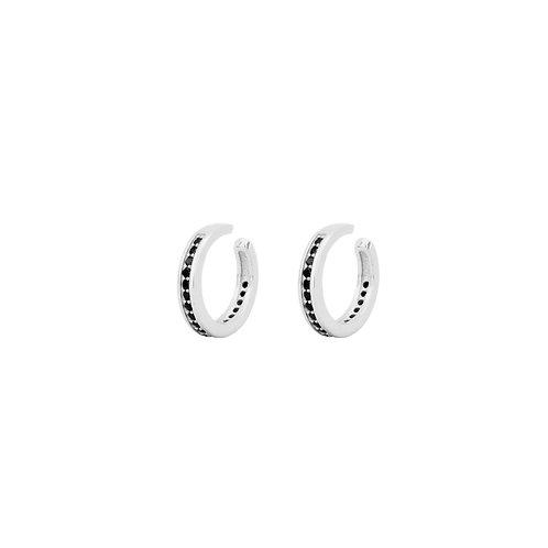 Black zirconia middle ear cuff silver