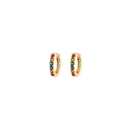 Rainbow zirconia hoop gold