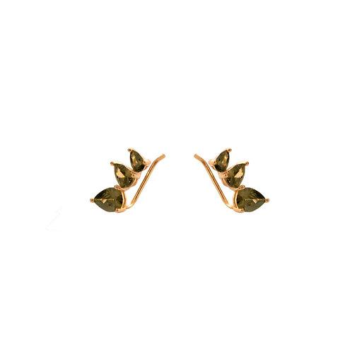 Olive zirconia climber gold
