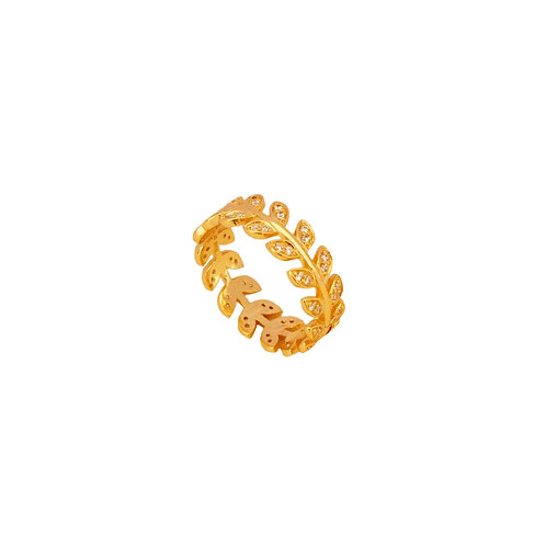 Zirconia small leaves gold