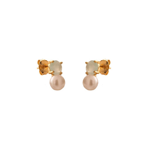 Chalcedony & pearl gold