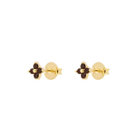 Black zirconia flower gold