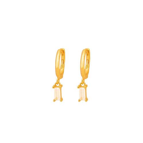 White zirconia rectangle hoop gold