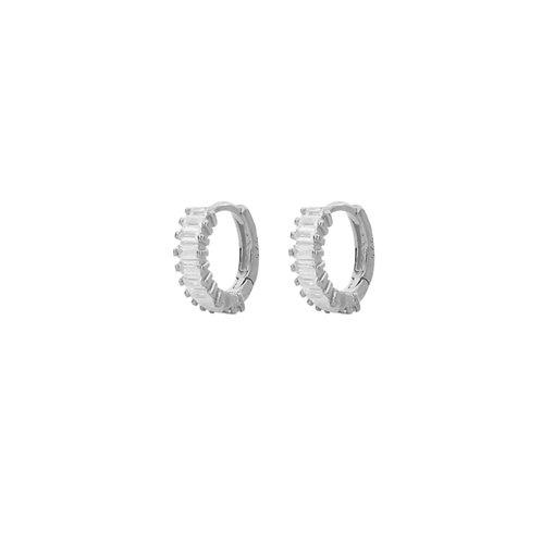 White zirconia baguette silver