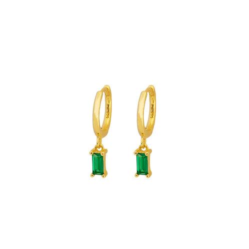 Green zirconia rectangle hoop gold