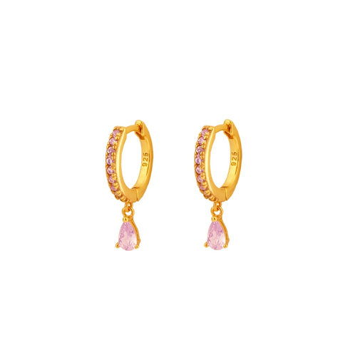 Light violet zirconia tear hoop gold