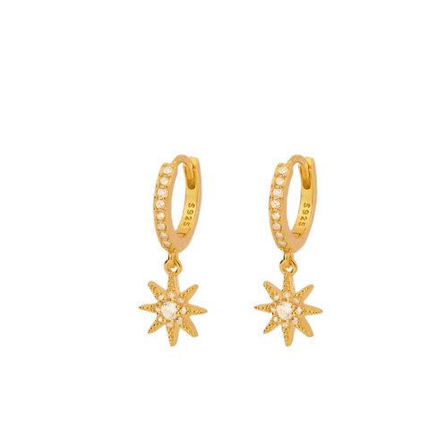 Zirconia star hoop gold