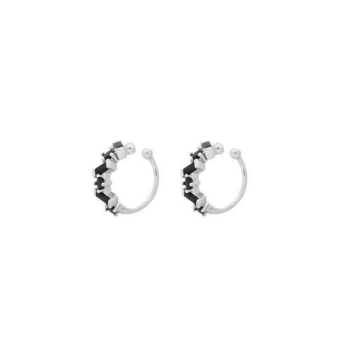 Black zirconia ear cuff silver