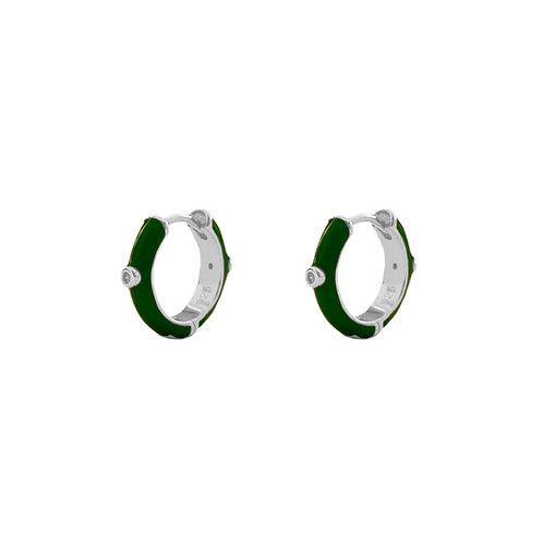 Green enamel hoop silver