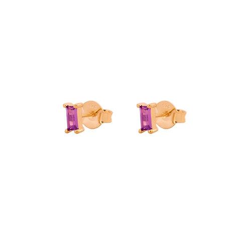 Violet zirconia rectangle gold