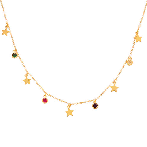 Stars and zirconia rainbow gold