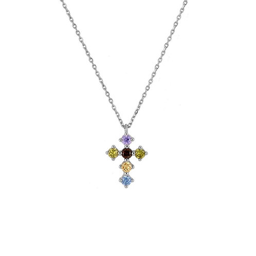 Rainbow zirconia cross silver