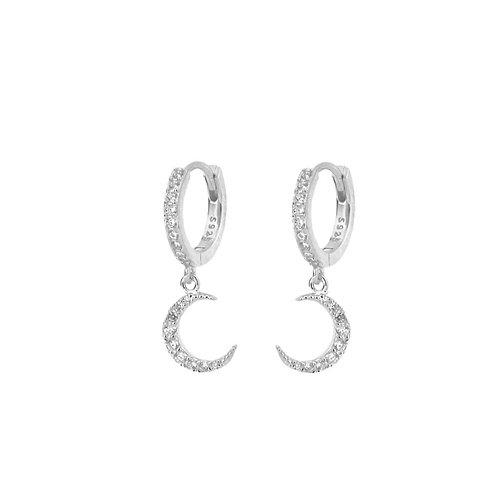 Zirconia moon hoop silver
