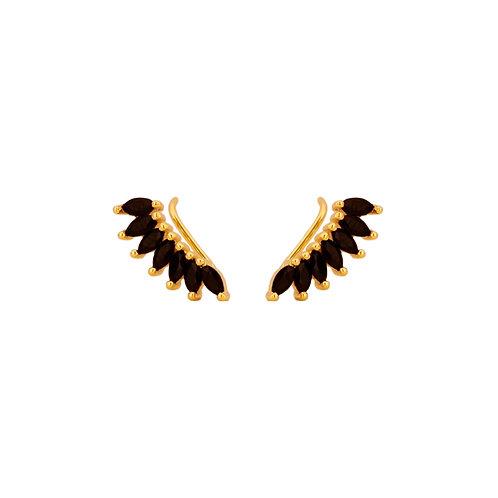 Black zirconia petals climber gold