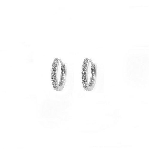 White zirconia hoop silver