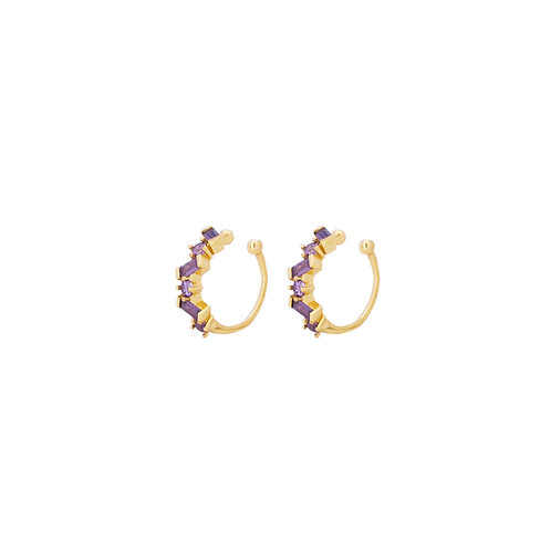 Violet zirconia ear cuff gold