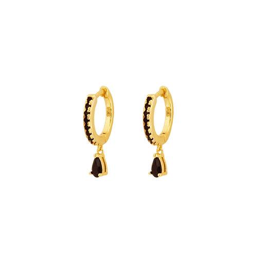 Black zirconia tear hoop gold