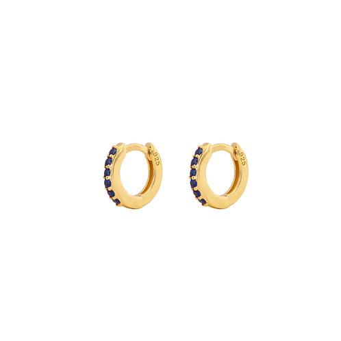 Blue zirconia mini hoop gold