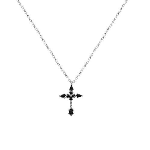 Black zirconia cross silver