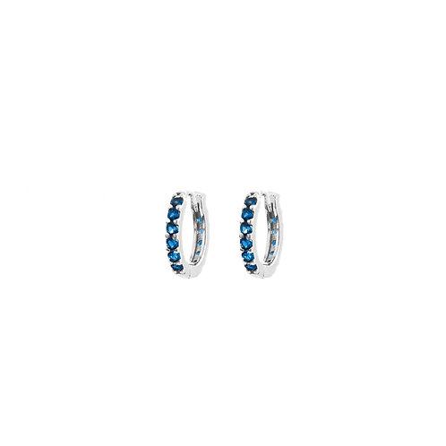 Blue zirconia hoop silver