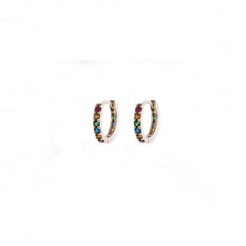 Rainbow zirconia hoop silver