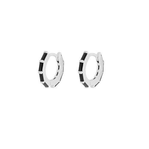 Black zirconia baguettes hoop silver