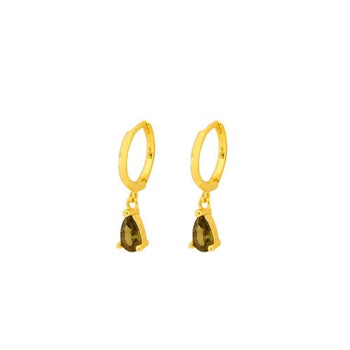 Green olive tear hoop gold