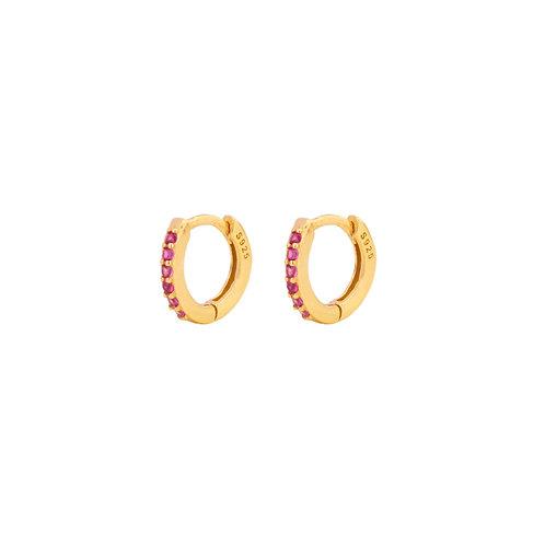 Pink zirconia mini hoop gold