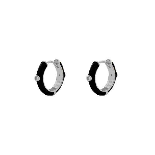 Black enamel hoop silver