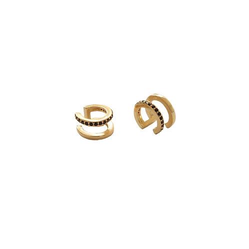 Black ear cuff gold