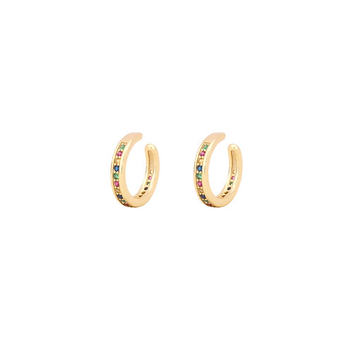 Rainbow zirconia middle ear cuff gold