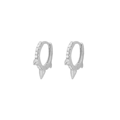 White zirconia spike hoop silver