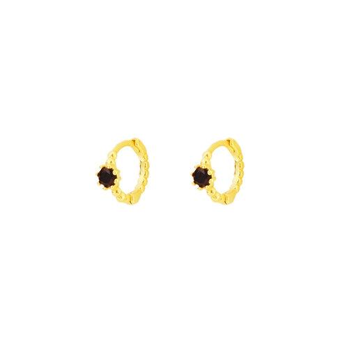 Black zirconia shiny hoop gold