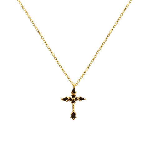 Black zirconia cross gold